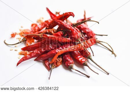 Red Dried Chili Pepper And Seed, Dried Red Chili Or Chilli Cayenne Pepper Isolated On White Backgrou
