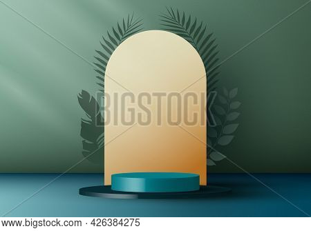 3d Realistic Elegant Blue Cylinder On Layers Rounded Backdrop With Tropical Leaves On Green Backgrou