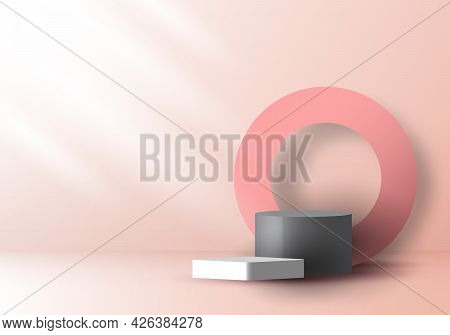 3d Realistic Pink And Gray Color Geometric Round Shape Stacked Podium And Circle Backdrop With Side