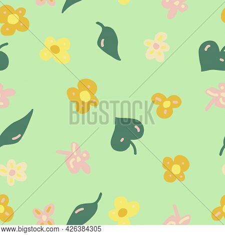 Flowers, Leaves And Doodle Dashes Seamless Pattern In Trending Color 2021. Vector Hand Drawn Minimal