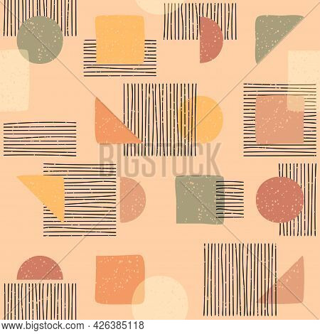 Seamless Pattern Of Minimal Geometric Primitive Shapes In Nude Colors, Vector Modern Hipster Style W
