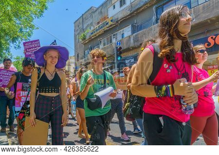 Haifa, Israel - July 09, 2021: Slut Walk Protest, Against The Rape Culture: People With Various Sign