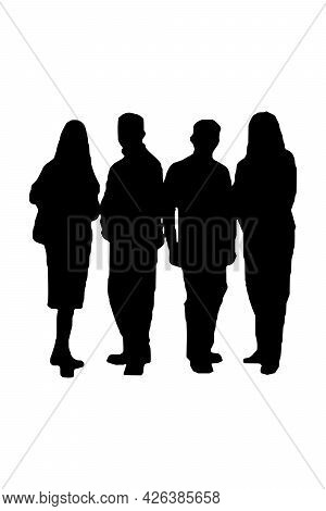 Business People Silhouette Set Of 4 Unique High-detailed Silhouettes Featuring Beautiful Models