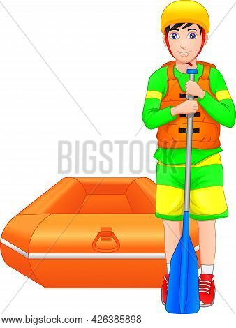 Boy Posing With Inflatable Boat On White Background