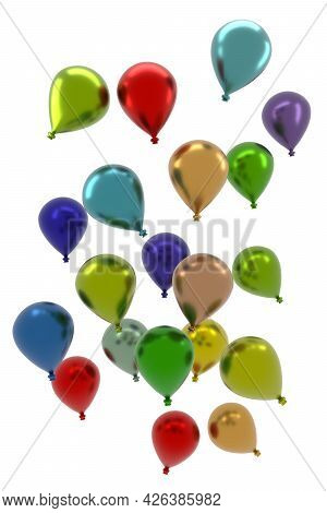 Colorful Balloons On A White Background, Concept For Greeting Cards Or Celebrations, 3d Renderings