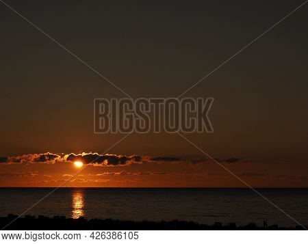 Sunset Over The Baltic Sea In Heiligenhafen