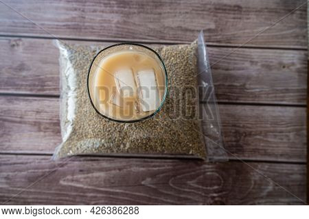 Kununzaki A Traditional Nigerain Refreshment Drink With Bag Of Millet