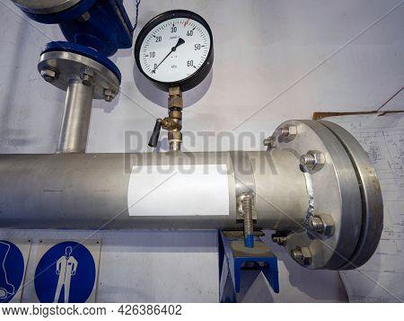 Pressure Measurement Gauge. Pressure Chrome Steel Pipes In Chemical, Food Or Food Operation, Valves