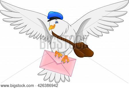 Cartoon Funny Pigeon Bird Delivering Letter On White Background