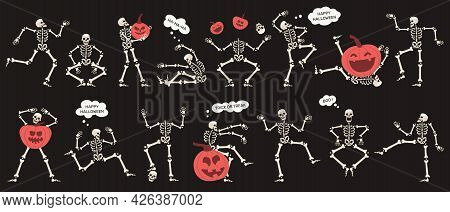 Halloween Skeletons With Pumpkins. Spooky Halloween Party Skeletons Characters Isolated Vector Illus