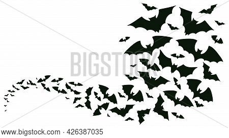 Flying Halloween Bats Silhouettes. Bats Flock Flying Wave, Vampire Flying Winged Spooky Animals Vect