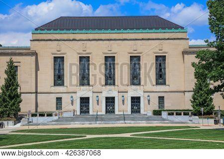 ANN ARBOR, MI - AUGUST 09,2020: University of Michigan's Rackham auditorium has been the site of many numerous notable lectures, performances, and academic symposium.