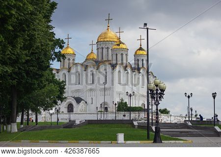 Russia, Vladimir, June 2021: Assumption Cathedral In Vladimir. Assumption Cathedral In Cloudy Weathe