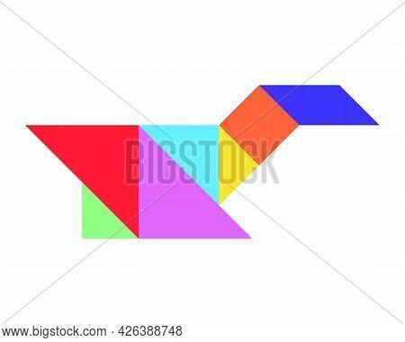 Color Tangram In Bird (duck, Goose, Swan) Shape On White Background