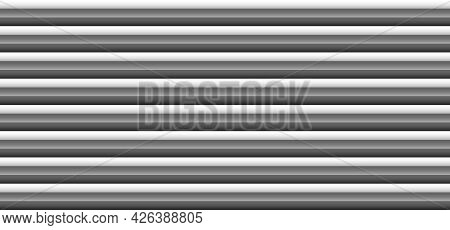 Abstract 3d Black And Gray Monochrome Horizontal Bold Stripes Lines Pattern On White Background And