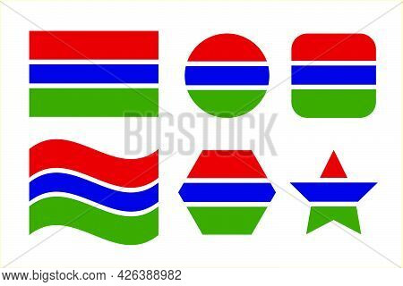 Gambia Flag Simple Illustration For Independence Day Or Election. Simple Icon For Web