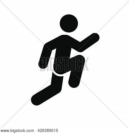 Jump Man Icon. People In Motion Active Lifestyle Sign. Flat Illustration
