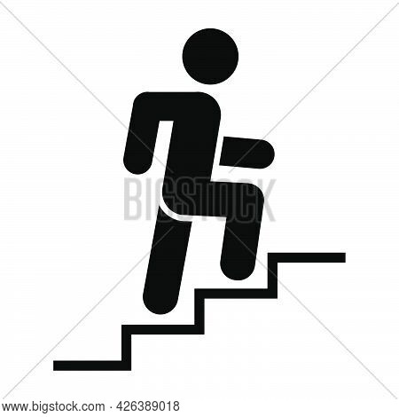 Man Climbing Stairs Icon. People In Motion Active Lifestyle Sign. Flat Illustration