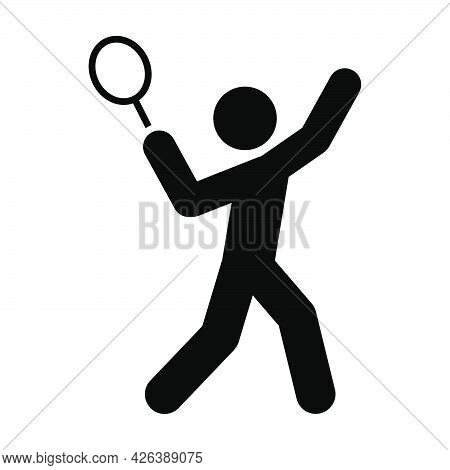 Man Playing Tennis Icon. People In Motion Active Lifestyle Sign. Flat Illustration