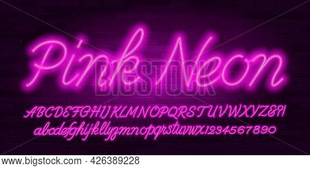 Pink Neon Alphabet Font. Hand Written Script Letters, Numbers And Symbols. Uppercase And Lowercase.