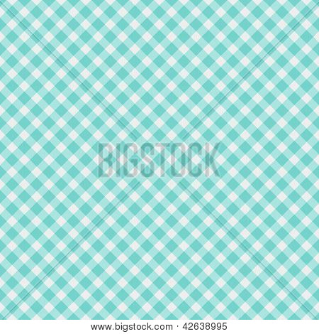 A light aqua blue gingham fabric background that is seamless poster