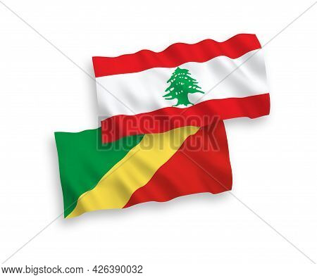 National Fabric Wave Flags Of Republic Of The Congo And Lebanon Isolated On White Background. 1 To 2