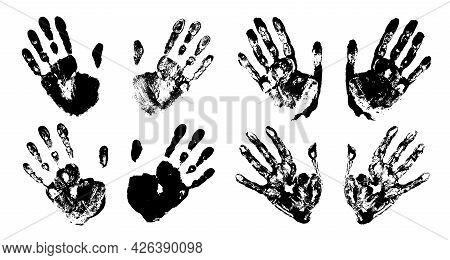 Hand Print Set. Print Of A Human Hand. Palm Imprint. Black Color. Vector Grunge Illustration.