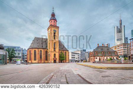 Frankfurt Am Main, Germany. View Of Baroque St. Catherine's Church (katharinenkirche)