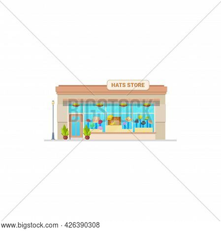 Hats Store Or Shop, Headwear Fashion Boutique Display, Vector Isolated Building. Woman And Man Hats