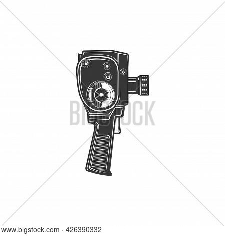 Film Production And Photo Shooting Tool, Retro Motion Picture Object Isolated Monochrome Icon. Vecto