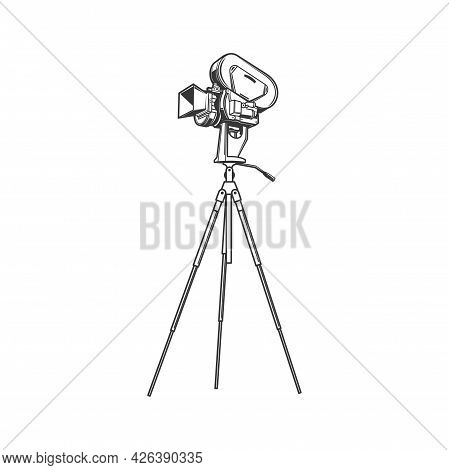 Film Projector, Cinema Recording Device Isolated Monochrome Icon. Vector Vintage Photocamera On Trip