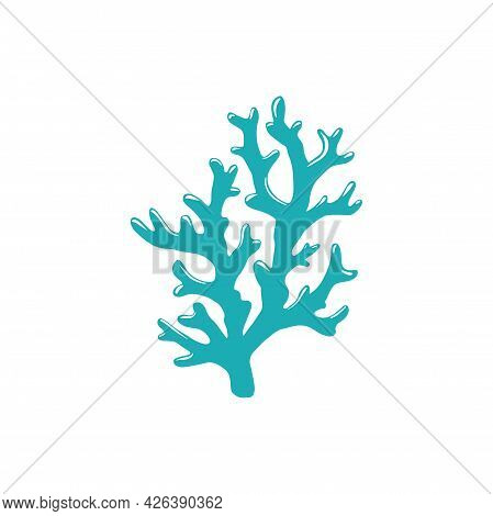 Branch Of Hard Tip Leather Coral Isolated Icon. Vector Finger Mushroom Coral With Sharp Edges, Seawe