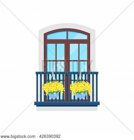 Balcony Window, House Building Facade With Porch, Vector Modern Or Vintage Banister. Balcony Flat Ic