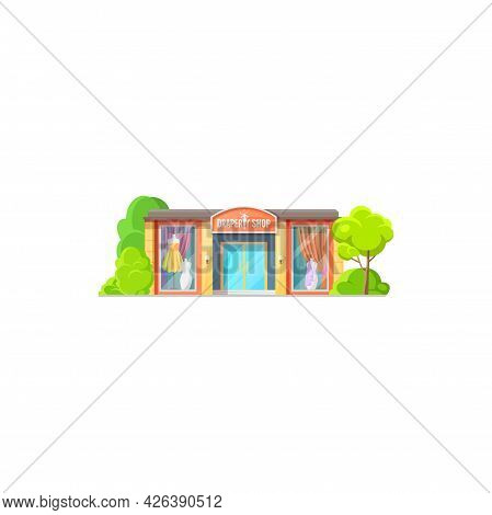 Facade Exterior Of Drapery Store Isolated Shop Building Flat Cartoon Design. Vector Curtains And Tul