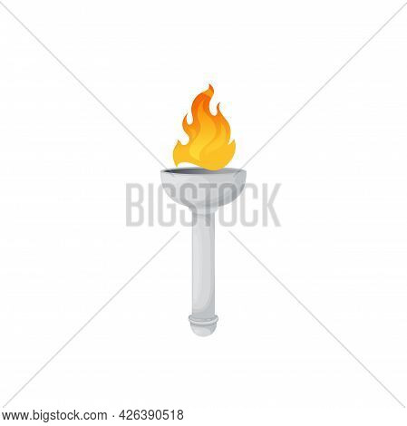 Torch Or Fire Flame Lantern, Ancient Burning Light In Marble Stick, Vector Icon. Medieval Greek Torc