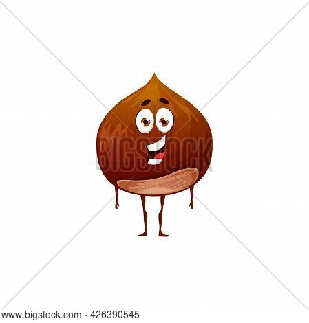 Cobnut Or Filbert Nut Isolated Emoji Emoticon Flat Cartoon Character. Vector Organic Food Snack With