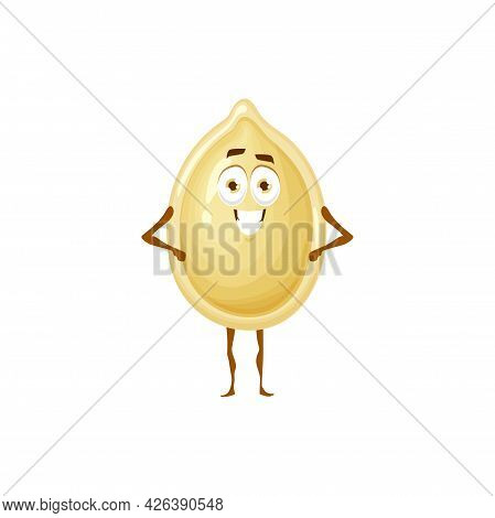 Pumpkin Seed In White Shell Isolated Flat Cartoon Character Emoji Emoticon With Happy Face. Vector G