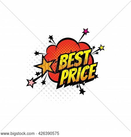 Advertising Sale Tag Pop Art Best Price On Color Half Tone Cloud Isolated Icon. Vector Special Sale