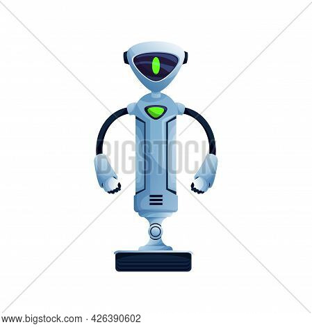 Future Android Robot On Moving Stand With Two Hands And Turn On Display On Face Isolated. Vector Kid