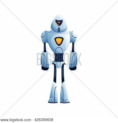 Sci-fi Droid Isolated Robot Cyberpunk With Arms And Legs. Vector Kids Toy, Artificial Automated Andr