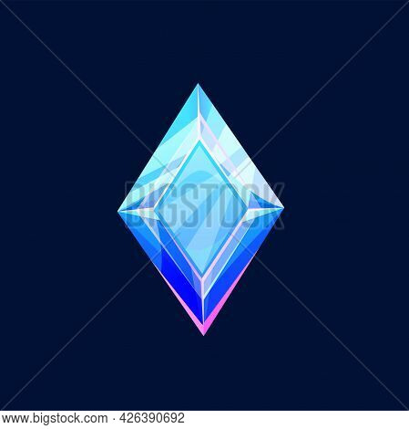 Blue Magic Crystal, Faceted Gem Vector Icon, Jewel Rock Of Rhombus Shape, Mineral Stone. Isolated Na