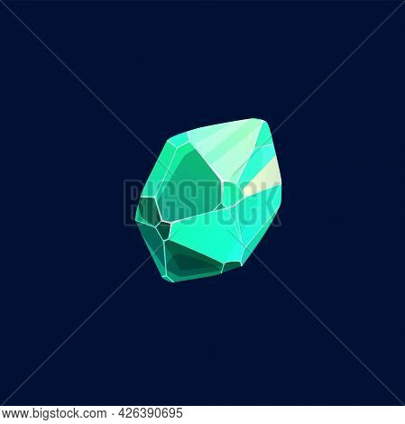 Green Magic Crystal Vector Icon, Rock, Organic Gem Stone. Jewelry Piece For Ui Game, Isolated Cartoo