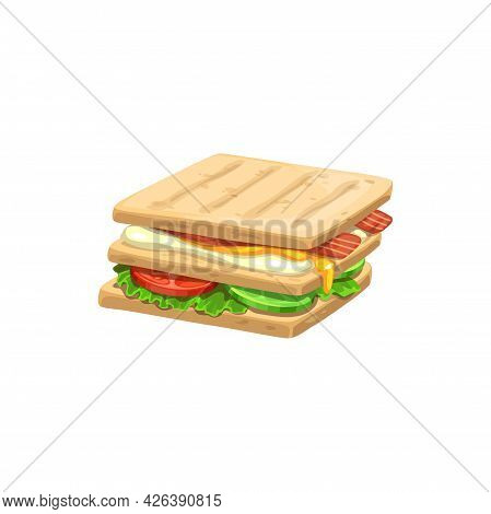 Sandwich, Fast Food Menu Icon, Snacks And Street Food Vector Isolated Meals. Fastfood Restaurant Or