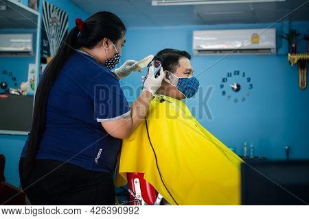 Hairstyle Or Barber Haircut Customer At Barbershop