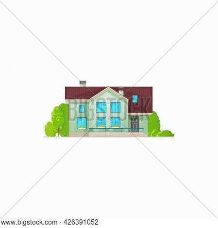 Real Estate Building, Cottage Country House With Chimney Isolated. Vector Country House With Mansard