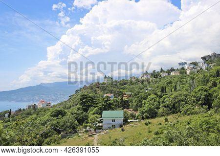 View Of The Seaside City Of Yalta, Black Sea, Crimea, Russia.