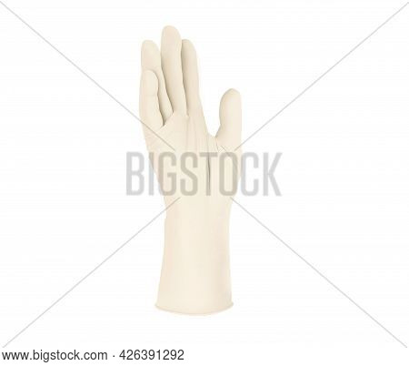 Surgical Medical Gloves Isolated On White Background With Hands. Rubber Yellow Glove Manufacturing,