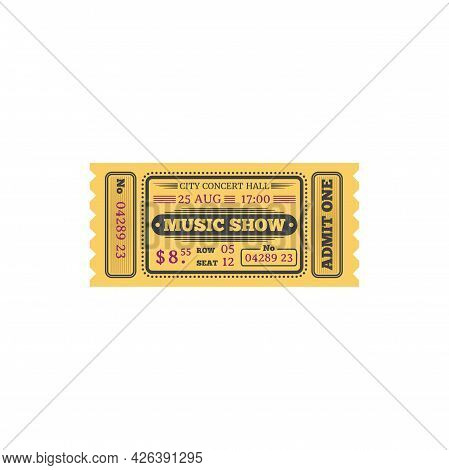 Ticket To Music Show In Central Music Hall Isolated Retro Card. Vector Admit One On Live Music Play