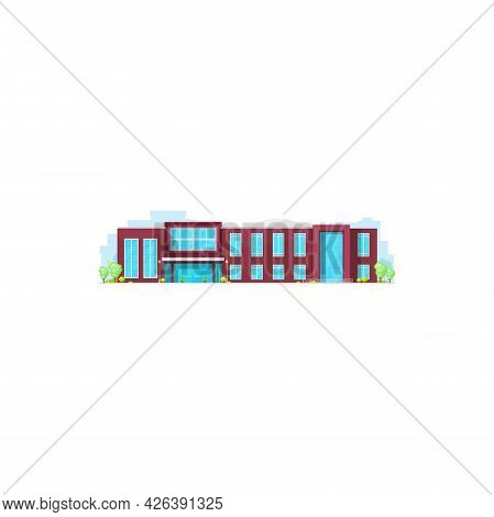 Governmental Court, Municipal Building Isolated Construction. Vector Urban University, College Or Mu