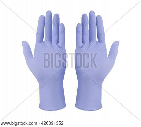 Medical Nitrile Gloves.two Purple Surgical Gloves Isolated On White Background With Hands. Rubber Gl